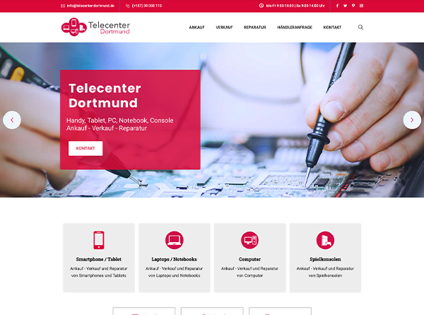 Tele Center Dortmund Website